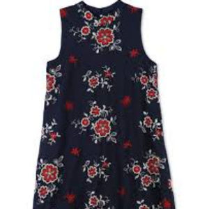 Speechless Embroidered Mock Neck Dress Lined Navy